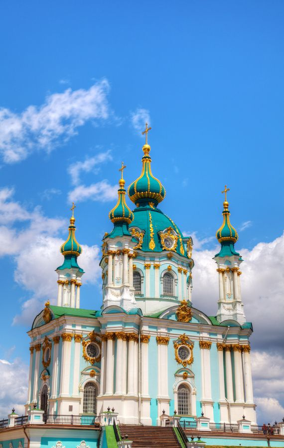 St. Andrew church in Kiev, Ukraine at a sunny day