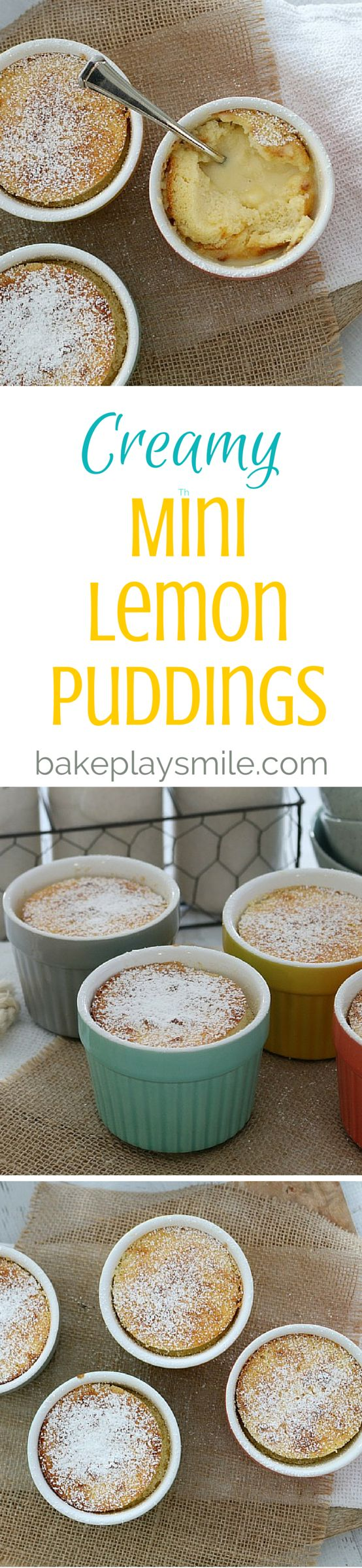 These Thermomix Creamy Mini Lemon Puddings are the ultimate dessert… perfect sponge-like top with a creamy lemon sauce on the bottom! There really is nothing better! #lemon #pudding #creamy #dessert #easy #winter #thermomix #conventional