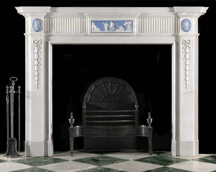 Antique English Georgian Wedgewood decorated White Marble Fireplace Mantel