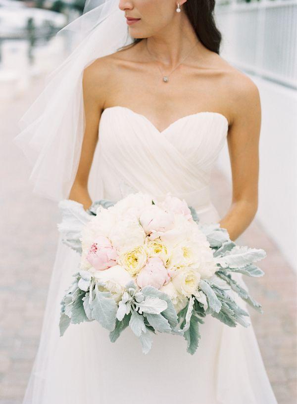 peony + dusty miller bouquet | Kat Braman #wedding