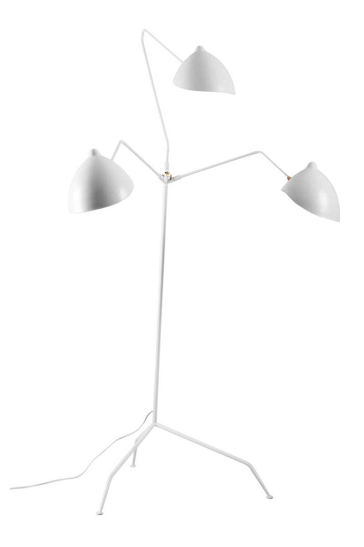 Modern white floor lamp - Serge Mouille Three Arm Mfl 3 Standing Lamp Modern Floor