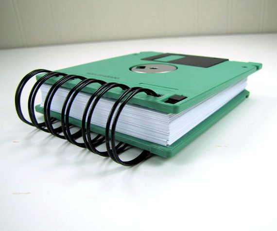Floppy Disk Notebook JUMBO Mint Green Computer Disk by Fishstikks, $6.50