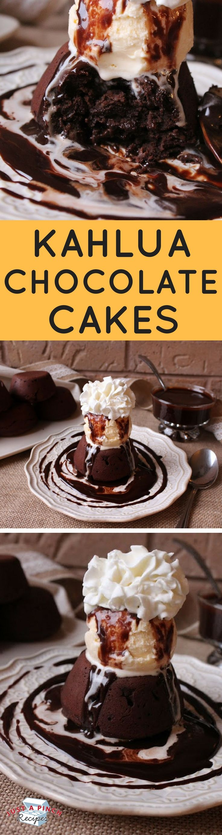 A Kahlua and chocolate lovers dream recipe! The cake's warm, ooey, gooey chocolate with a slight hint of Kahlua. Ice cream and chocolate sauce on top send this over the top.