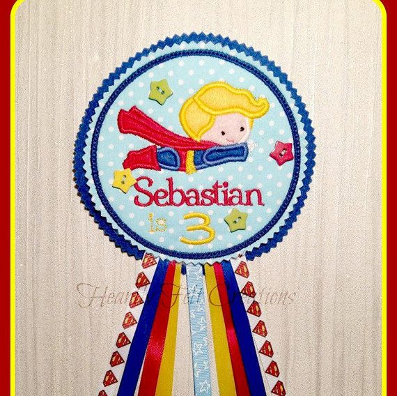 Handmade In Hatfield - Hertfordshire   Boys Birthday Badge Personalised Badge  Superman Badge