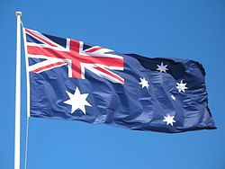 Our nations flag #AustraliaDayOnboard