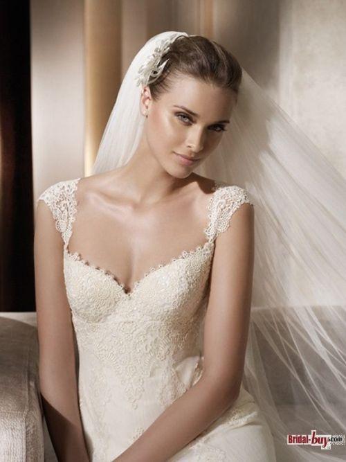 Gorgeous Mermaid V-Neck Cap Sleeves Chapel Train Vintage Lace Wedding Dresses: Column Wedding Dresses, Wedding Dressses, Waist Organza Lace, V Neck Column, Organza Lace Column, Organza Lace V Neck, Natural Waist, Weddings, Columns