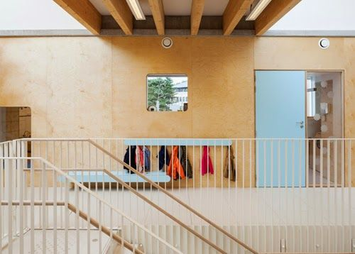 Pluchke Daycare in Brussels by ZAmpone Architectuur | Internal windows connect spaces visually