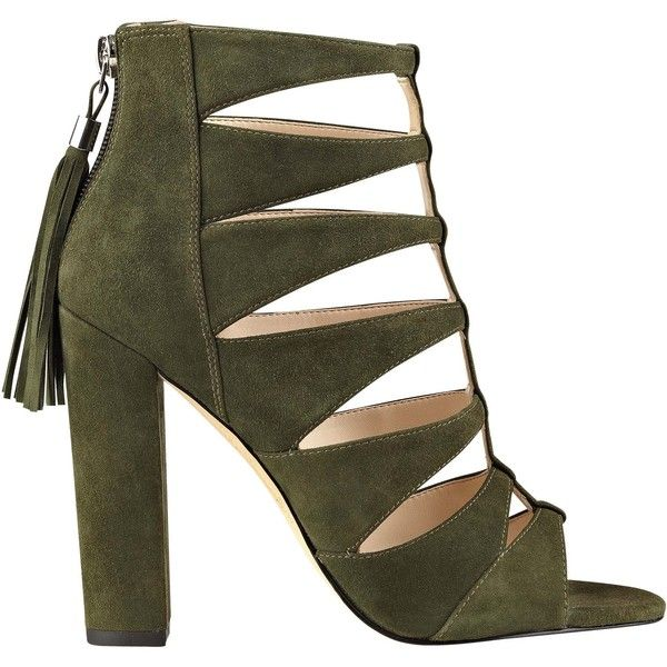 Hindera Open Toe Caged Dress Shoe ❤ liked on Polyvore featuring shoes, pumps, sexy shoes, dress shoes pumps, gladiator shoes, cut out shoes and tassel shoes