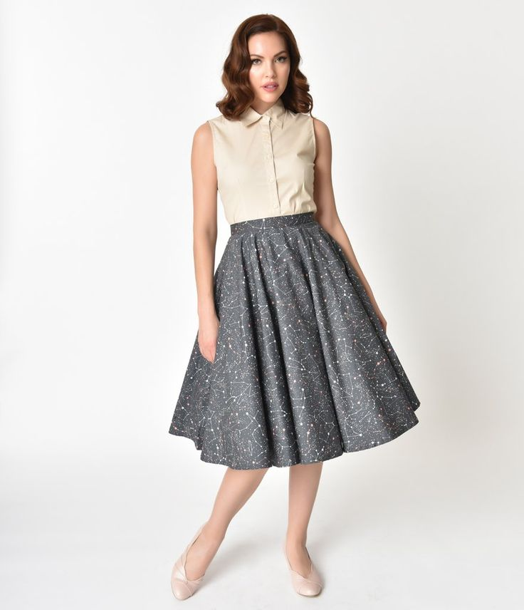 Vintage Style Grey Star Constellation Print Cotton Circle Skirt