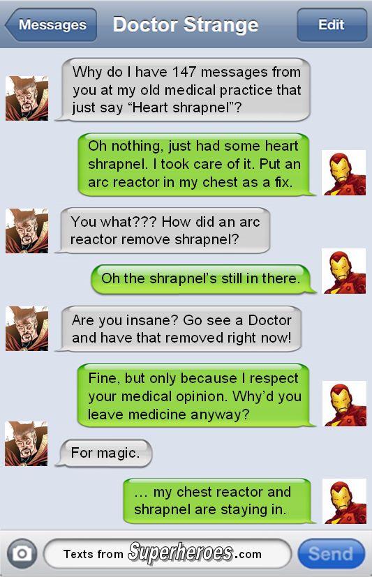 Texts From Superheroes : Doctor Strange & Tony Stark