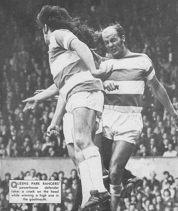 1st September 1973. Queens Park Rangers duo Stan Bowles and Terry Mancini in action against Manchester United, at Old Trafford.