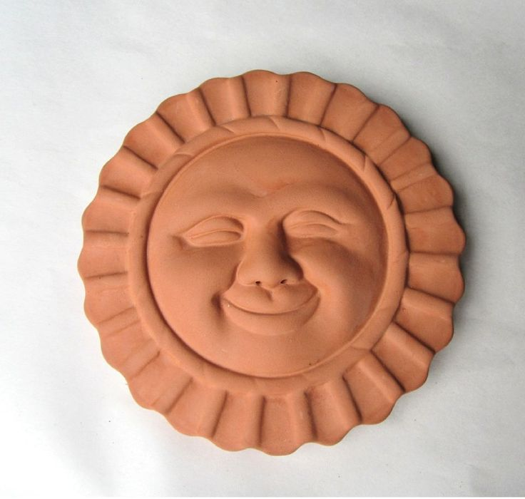 6 Quot Terra Cotta Sun Face Wall Plaque Garden Art Clay Plaque