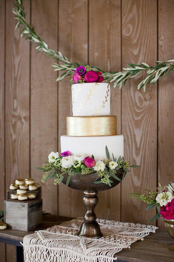 Elegant Bohemian Wedding Inspiration Gold & White Wedding Cake by Frost It Cakery