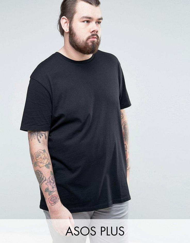 ASOS PLUS Longline T-Shirt With Crew Neck - Black