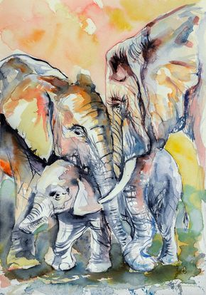 ARTFINDER: Elephant family by Kovács Anna Brigitta - Original watercolour painting on high quality watercolour paper. I love landscapes, still life, nature and wildlife, lights and shadows, colorful sight. Thes...