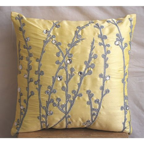 decorative throw pillow covers accent pillow couch pillow 20 inch silk pillow cover embroidered yellow crystal willow home decor living