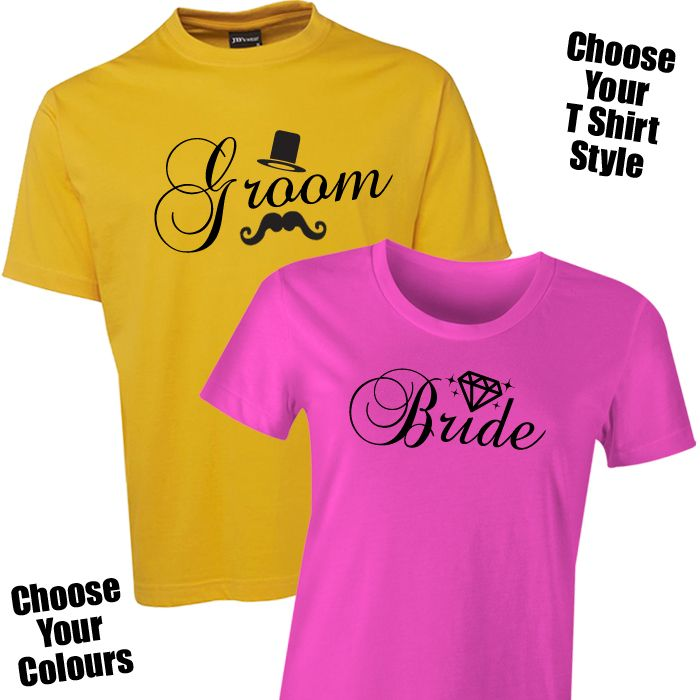Bride & Groom Illustrated T Shirt Set The Bride & Groom Illustrated T Shirt Set is the latest trend in must have pre-wedding or honeymoon wear for the Bride and Groom! Bride and Groom ...