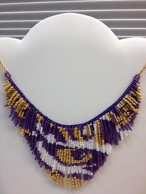 LSU fan- but makes me think about possibilities. Fleur de Aleta: Tiger Eye LSU necklace