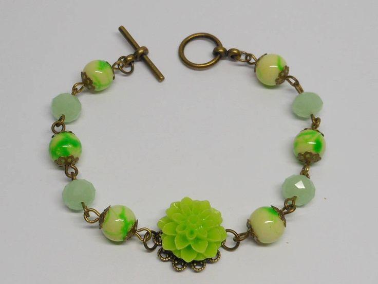 Green Resin Cabochon Charm bracelet,Bronze Bracelet, Charm Bracelet. by akcrystalbead on Etsy