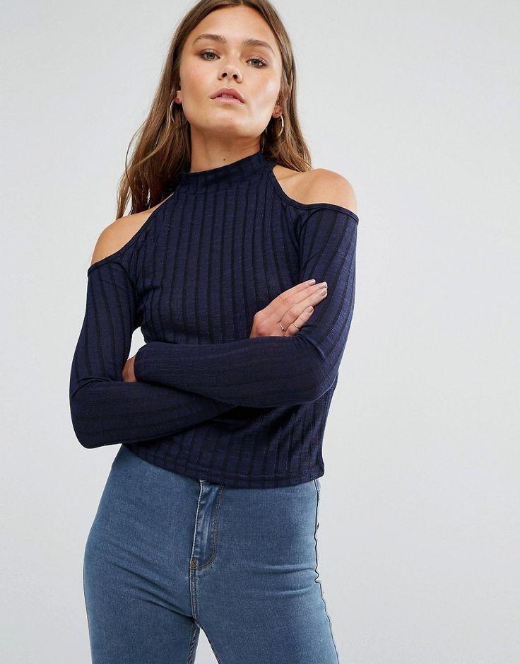 Image 1 - New Look - Pull en maille côtelée à épaules dénudées                                                                                                                                                                                 Plus