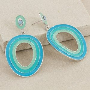 Tri Tone Enamel Striped Oval Drop Earring