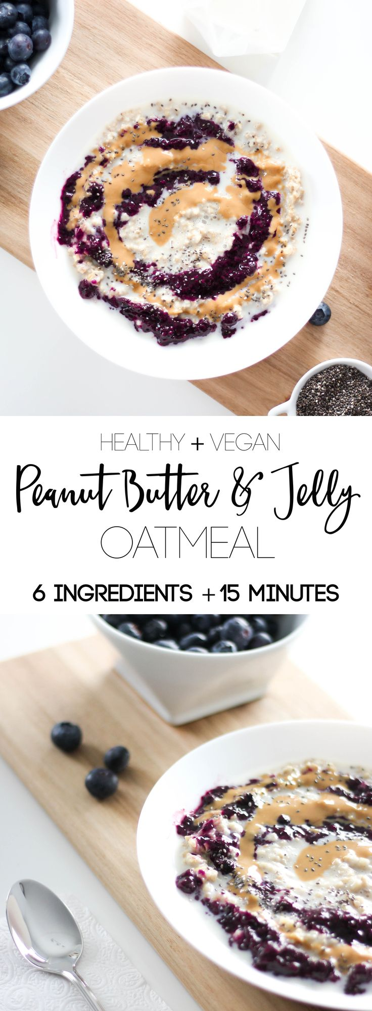 Peanut Butter and Jelly Oatmeal- A new spin on a classic that will make you a gold star mom in the morning. Natural peanut butter, triple berry chia seed jam, steel cut oats, almond milk, and maple syrup, makes for a healthy and delicious breakfast in 15 minutes.