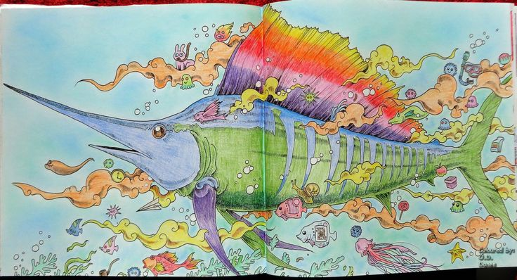 Animorphia - Kardhal Készült: Progresso és Colorino mini ceruzák  Háttér: Colorino Artist Porpasztell   Animorphia - Swordfish Coloured with Progresso and Colorino mini pencils Background: Colorino Artist Soft Pastels
