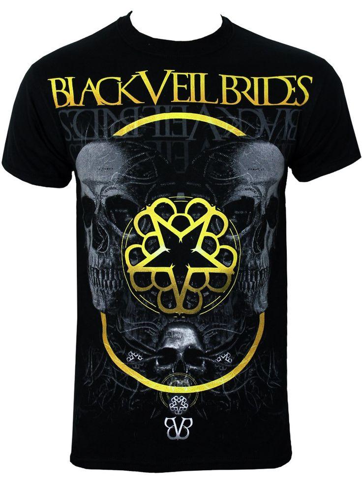 Black Veil Brides Grey Skull Men's Black T-Shirt, Exclusive To Grindstore - Buy Online at Grindstore.com