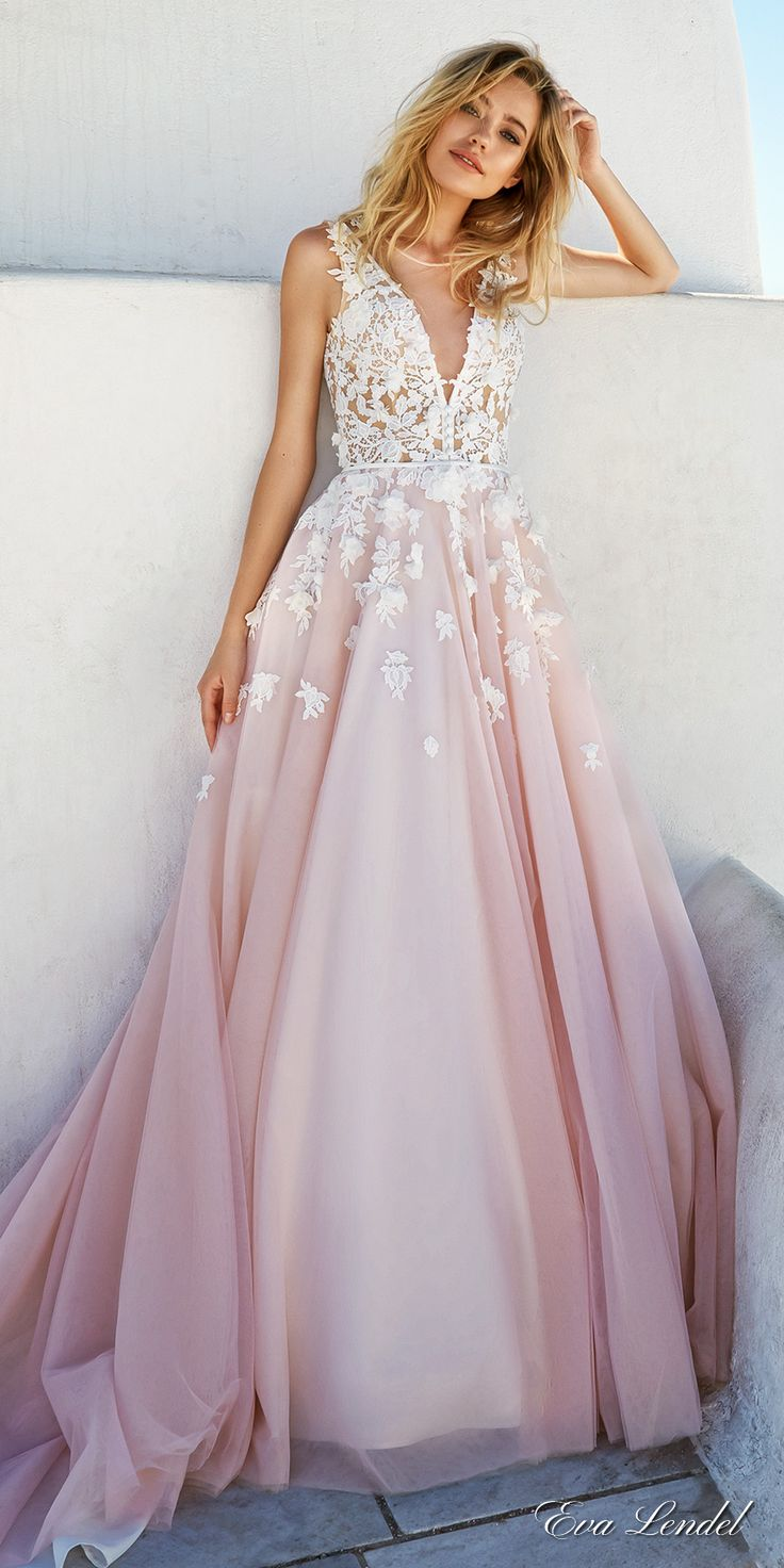 Vestido para festa de noivado_ eva lendel 2017 bridal sleeves deep v neck heavily embellished bodice romantic pretty pink color a line wedding dress keyhole back royal train (britany) mv