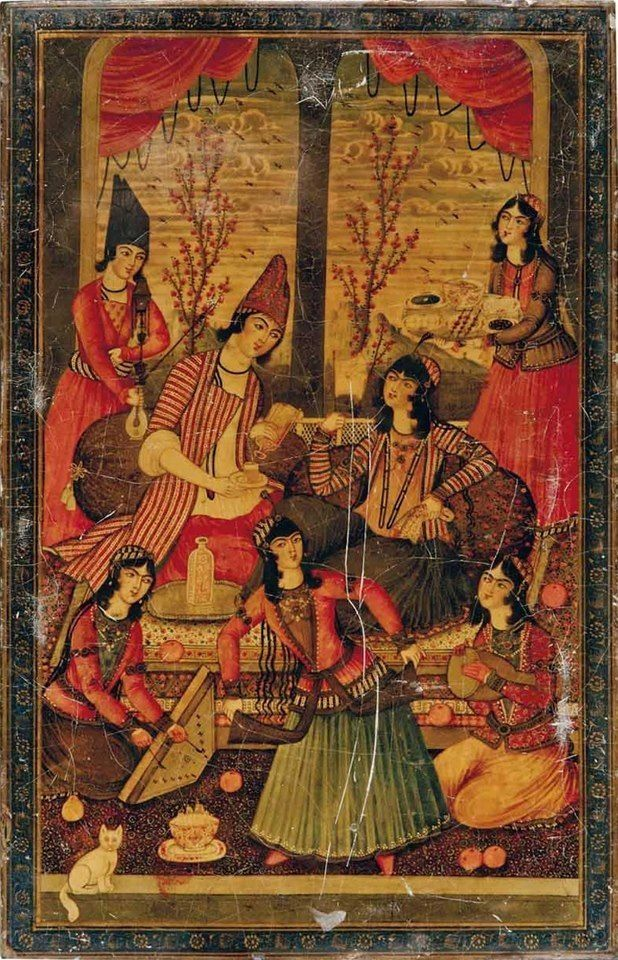 IRANIAN  PAINTINGS   Instruments: PSALTER , DUTAR   and DRUM .   The beginning of Zand & Qajar painting goes back to 18 century in Zandieh era, especially attributed to Karimkhan Zand (1752-1779).