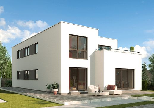 """Modell """"Ancona"""" - Luxuriöses Zweifamilienhaus in Bauhaus-Optik, klare, puristische Linienführung. Raumgrundfläche gesamt: 261,97 qm"""