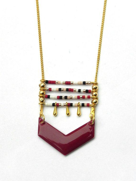 sautoir thin necklace  burgundy gold , chevron epoxy charm , miyukis beads burgundy black white and pink