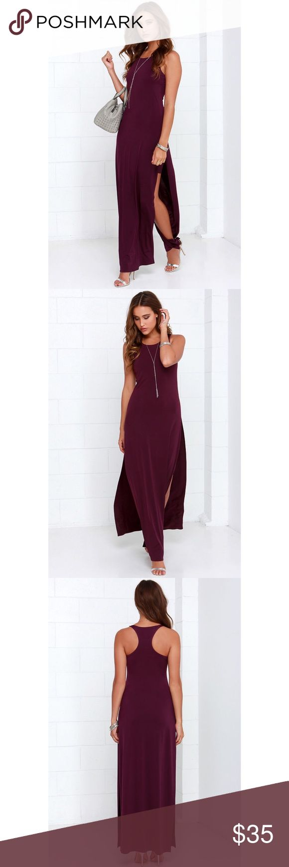 Lulus purple racerback maxi dress Lulus purple racerback maxi dress. Features racerback, twin side slit with mini dress inside. Very flattering and accents curves. True to size. Never worn. In great condition. Lulu's Dresses