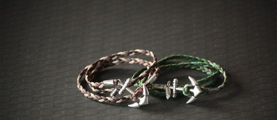 Anchor Bracelet Chrome Anchor Woven Leather by BoogeJewellery, $59.00