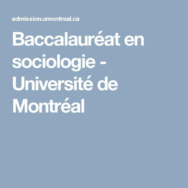 Baccalauréat en sociologie - Université de Montréal