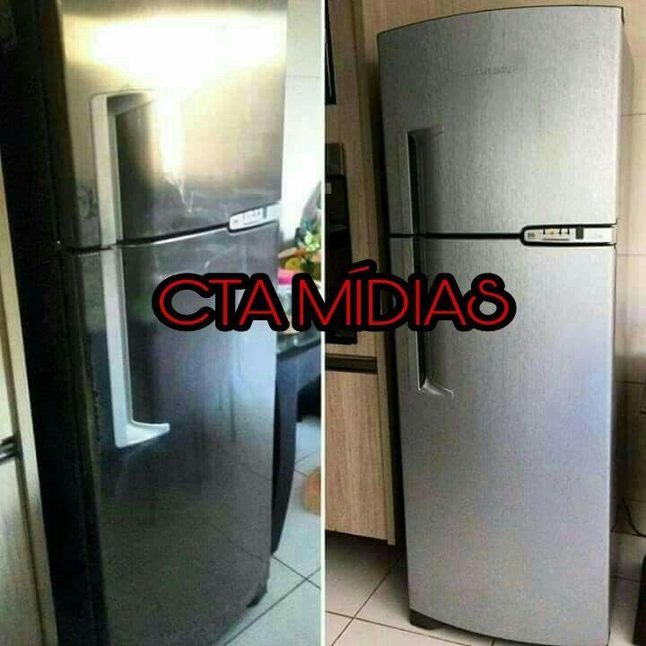 Envelopamento personalizado em geladeira duplex tipo inox!!