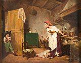 Pittore italiano, fine XIX secolo. Interno di cucina con scena familiare, La maschera, da Gaetano Chierici. Olio su tavoletta, cm. 17,3 x 22,3. Firmato 'Chierici'
