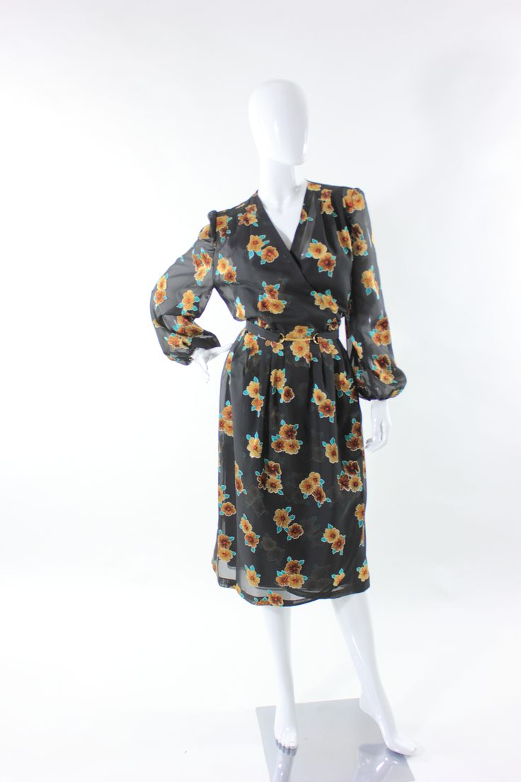 Abito Vintage Sartoriale stampa fiori anni 70 Vintage floral dress from 70s