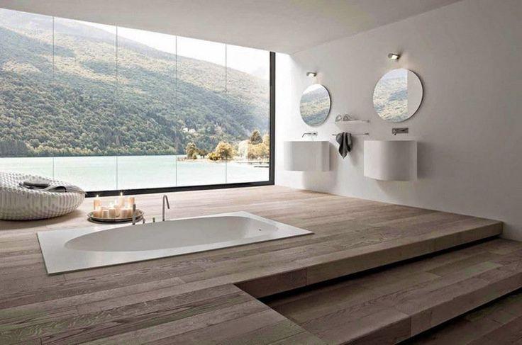 aménagement salle de bains sans fenêtres -panneaux en trompe l'oeil