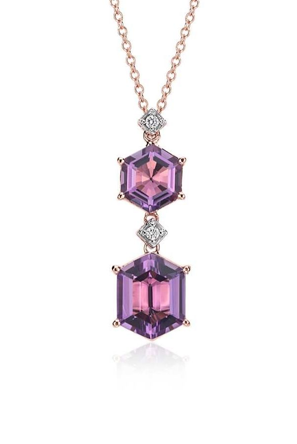 Truly sparkling, this gemstone pendant features a unique hexagon shape amethyst with pavé diamond accents framed in 14k rose gold.