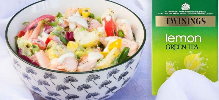 Green Tea and Lemon Poached Salmon Salad
