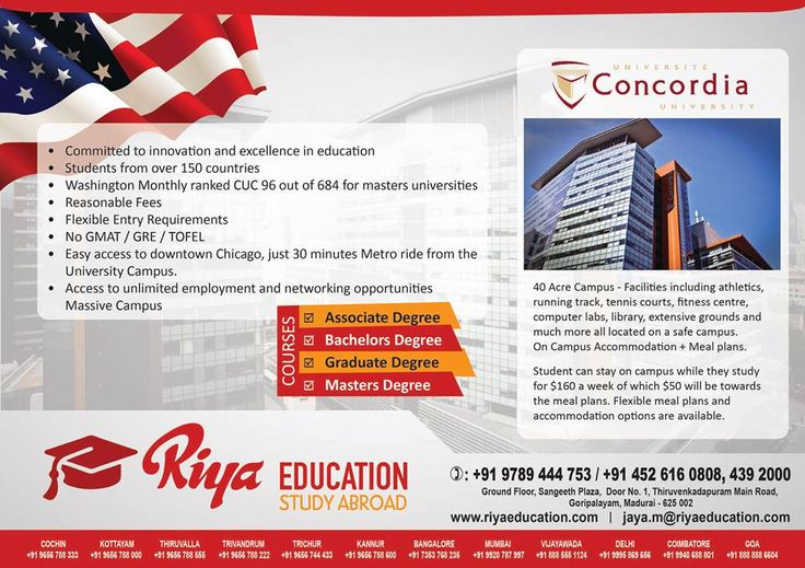 Study abroad in mind?Choose Concordia University, Canada.Riya Education is here to help you!! The university offers associate degree, bachelors degree, graduate degree and masters degree. Why wait? Get in touch with us.We have branches across India.