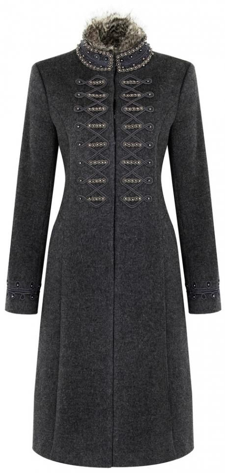 TK Maxx embroidered faux fur collar coat, £149. High Street, Worcester. (www.tkmaxx.com).