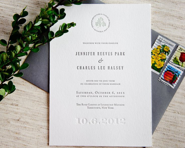 Signature Letterpress Wedding Invitation Samples TOTAL: $1100 (invitation + reply sets w/ envelopes) for 75. (Leaf green ink specified but brighter green is used on some samples. The brighter green ink color is preferred).