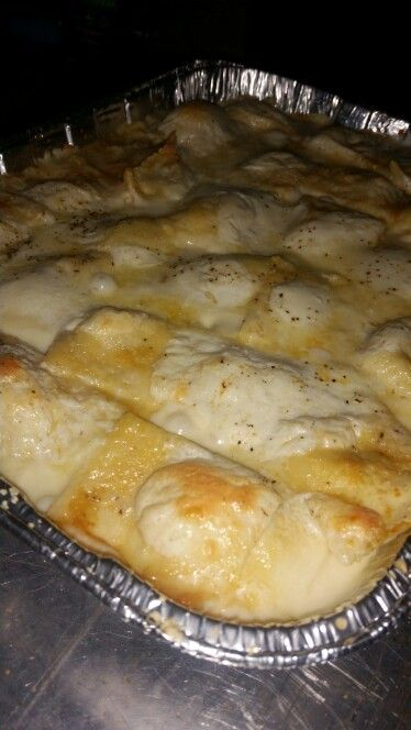Baked four cheese ravioli in white sauce. These were better than I anticipated and are definitely going in my rotation!