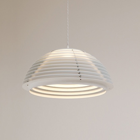 Hekla pendant lamp in white laquered metal, designed by Jon Olafson and P.B. Lutherson, and produced by Fog Morup.  Via City Furniture.