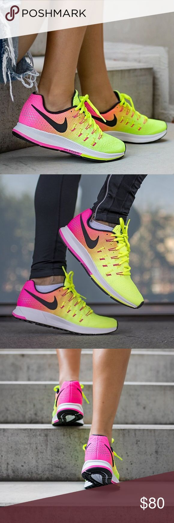 Nike Zoom Pegasus 33 OC Running Shoe Very bright and pretty yellow/hot pink sneaker. Reflective detail on heel. Women's size 8.5. Comfy for running or everyday wear. No trades. Used once Nike Shoes Sneakers