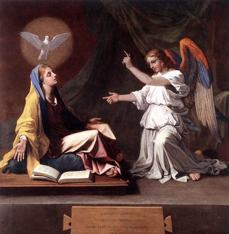 """To become the mother of the Savior,Mary ""was enriched by God with gifts appropriate to such a role.""The angel Gabriel at the moment of the annunciation salutes her as ""full of grace"". In fact,in order for Mary to be able to give the free assent of her faith to the announcement of her vocation,it was necessary that she be wholly borne by God's grace."" (Catechism of the Catholic Church, 490) // The Annunciation / La Anunciación // 1657 // Nicolas Poussin // © The National Gallery,London"