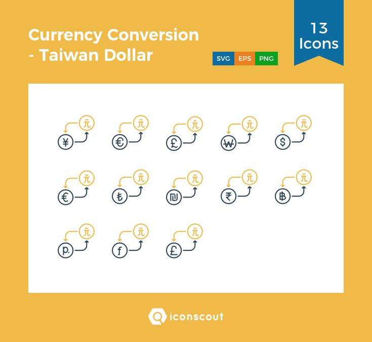 Currency Conversion - Taiwan Dollar  Icon Pack - 13 Line Icons