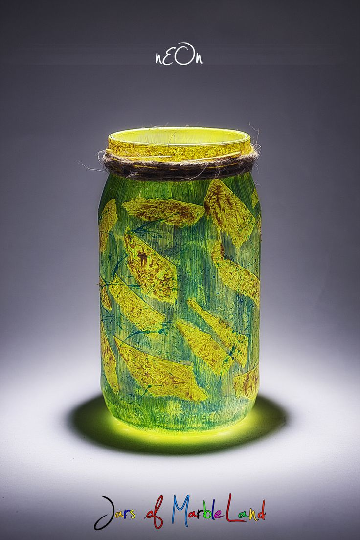 painted jar/ candle holder